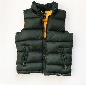 Gap kids green/yellow puffer vest EUC L(10)